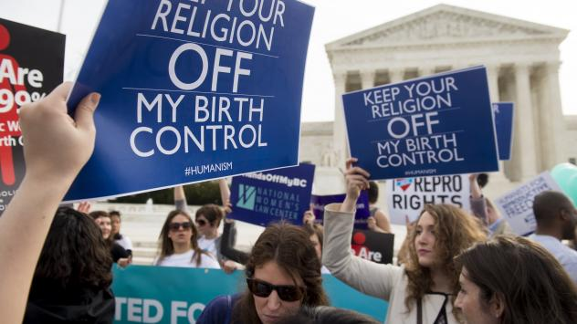 Supporters of women's health rally outside the Supreme Court in Washington, D.C., March 23, 2016, as the Court hears oral arguments in seven cases dealing with religious organizations that want to ban contraceptives from their health insurance policies o