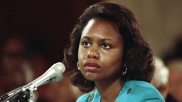 Anita Hill testifies before the Senate Judiciary Committee on Oct. 11, 1991, regarding Clarence Thomas' confirmation to the Supreme Court.
