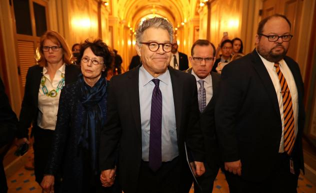 "Sen. Al Franken, D-Minn., and his wife Franni Bryson (left) arrive at the U.S. Capitol on Thursday. Franken announced on the Senate floor that he would be resigning ""in the coming weeks."""