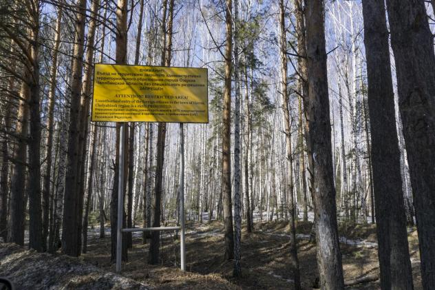 A sign warns people not to enter the town of Ozersk, Chelyabinsk region, Russia, which houses the Mayak nuclear facility. In 1957, the nuclear reprocessing plant was the site of one of the world's worst nuclear accidents.