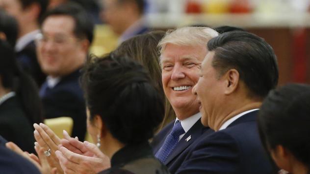 President Trump and China's President Xi Jinping attend a state dinner at the Great Hall of the People in Beijing last month.