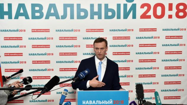 Russian opposition leader Alexei Navalny delivers a speech during a meeting with his supporters in Moscow on Sunday. Navalny, seen as the only Russian opposition leader who stands a fighting chance of challenging strongman Vladimir Putin, was seeking to