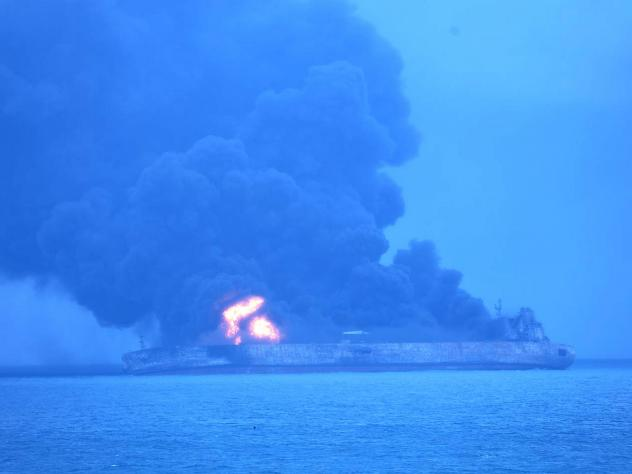 """The Iranian oil tanker """"Sanchi"""" was ablaze after a collision with a freighter off China's east coast Sunday. Its entire 32-person crew is missing, as rescue efforts are hampered by bad weather and the fire."""
