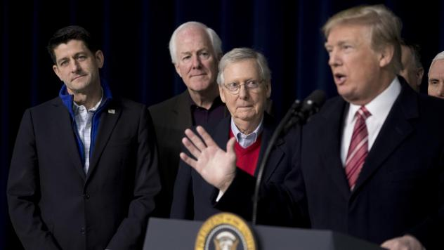 President Trump, with House Speaker Paul Ryan of Wis., Senate Majority Whip John Cornyn, R-Texas., and Senate Majority Leader Mitch McConnell of Ky., speaks to reporters after a retreat where GOP leaders made plans for a 2018 agenda.