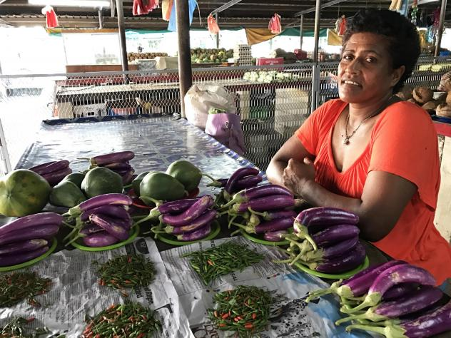 A selection of eggplant for sale at the Tavua Municipal Market in Fiji.