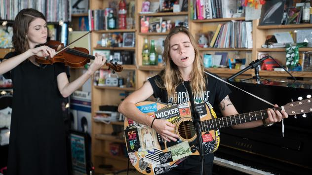Julien Baker performs a Tiny Desk Concert on Oct. 16, 2017 (Jennifer Kerrigan/NPR).