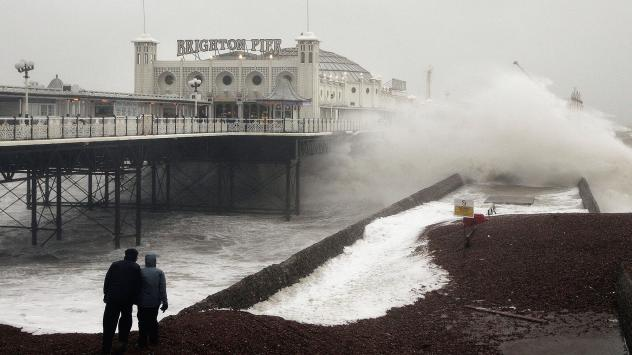 Waves crash onto the beach near Brighton Pier in England, in January 2007. Gale force winds and heavy rain brought disruption to large parts of the country. Severe weather events like this one may be linked to more frequent fluctuations in the polar jet