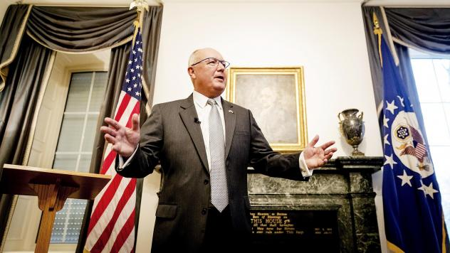 "U.S. Ambassador to the Netherlands Pete Hoekstra spoke at a tense news conference with Dutch reporters Wednesday at The Hague. On Friday, he said his 2015 anti-Muslim comments were ""wrong."""