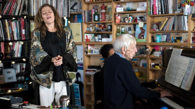 Barbara Hannigan performs a Tiny Desk concert on Nov. 15, 2017 (Jennifer Kerrigan/NPR).