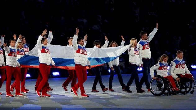 Russia's Paralympic athletes who compete in South Korea will do so under a neutral flag, part of the team's punishment for doping infractions. Here, Russian athletes are seen in the closing ceremony of the 2014 Paralympic Winter Games in Sochi, where the