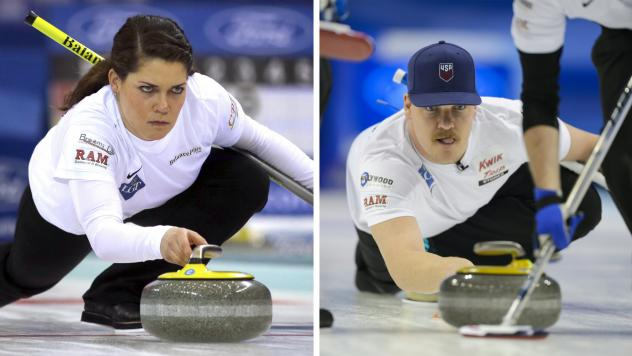 (Left) United States' Becca Hamilton releases the stone during a match against Switzerland in the Women's World Curling Championship in Beijing on March 23, 2017. (Right) Becca's brother, Matt Hamilton, delivers a stone during the bronze medal game betwe