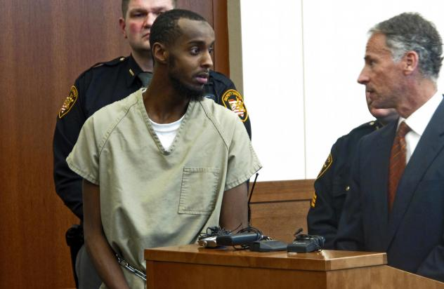 Abdirahman Sheik Mohamud is shown in a Columbus, Ohio, courtroom in 2015. He was arrested after traveling to Syria, then returning to Ohio, where he planned to carry out an attack. According to a new report, he's one of 12 Americans who went to join extr