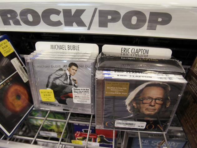 In 2011, CDs by Eric Clapton and Michael Buble were on display at Best Buy in Mountain View, Calif. According to<em> Billboard</em>, customers soon won't be able to find CDs at Best Buy.