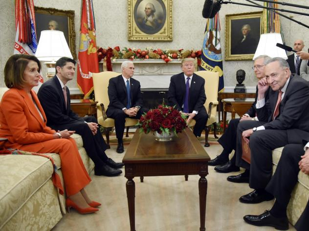President Trump and Vice President Pence meet with congressional leadership (on couches from left) House Minority Leader Nancy Pelosi, House Speaker Paul Ryan, Senate Majority Leader Mitch McConnell and Senate Minority Leader Chuck Schumer in the Oval Of