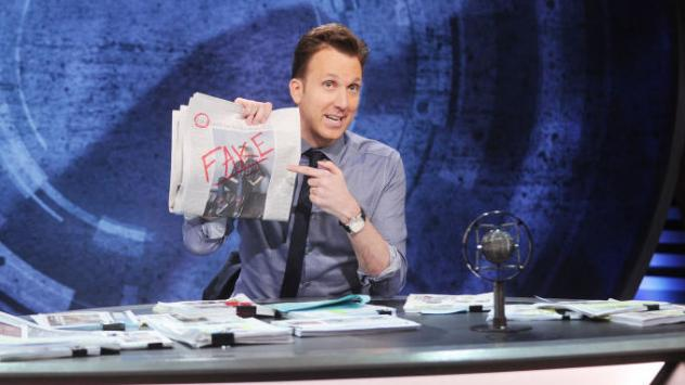 Comedian Jordan Klepper plays a far-right conspiracy theorist on Comedy Central's <em>The Opposition. </em>