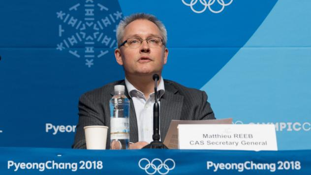 Matthieu Reeb, secretary general of the Court of Arbitration for Sport, announces the court's decision on Feb. 1 regarding Russian athletes. He is set to announce another decision Friday.