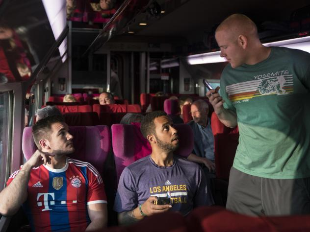 This image released by Warner Bros. Pictures shows, from left, Alek Skarlatos, Anthony Sadler and Spencer Stone in a scene from <em>The 15:17 to Paris. </em>