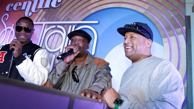 Lovebug Starski, far right, on November 6, 2014 in Las Vegas, Nevada. The DJ and rapper died Thursday, Feb. 8 2018. With him, from left, are fellow hip-hop pioneers Doug E. Fresh and Grandmaster Caz.