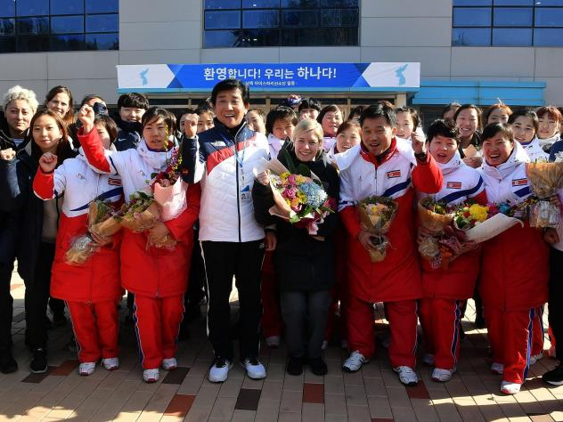During a practice ahead of their first match in the Pyeongchang Winter Olympics, the unified Korean team wore blue and white jerseys — leaving onlookers to wonder which players were from the north.