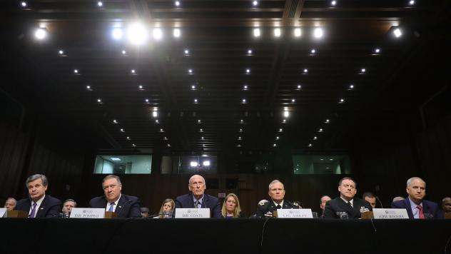 Left to right: FBI Director Christopher Wray, CIA Director Mike Pompeo, Director of National Intelligence Dan Coats, Defense Intelligence Agency Director Lt. Gen. Robert Ashley, NSA Director Adm. Michael Rogers and National Geospatial Intelligence Agency