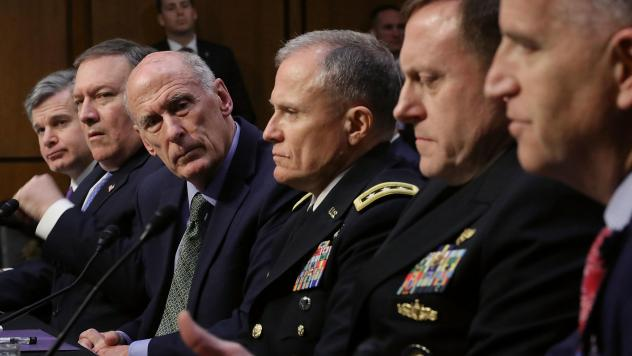 Left to right: FBI Director Christopher Wray, CIA Director Mike Pompeo, Director of National Intelligence Dan Coats, Defense Intelligence Agency Director Robert Ashley, NSA Director Adm. Michael Rogers and National Geospatial Intelligence Agency Director