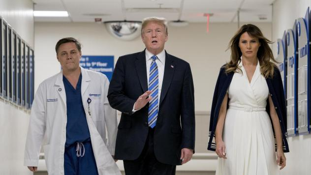 President Trump, accompanied by first lady Melania Trump and Dr. Igor Nichiporenko, speaks to reporters while visiting medical staff at Broward Health North in Pompano Beach, Fla., on Friday.
