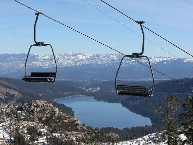 On Jan. 28, 2015, with a record low snowpack, chairs sit idle on a ski lift at Donner Ski Ranch in Norden, Calif.