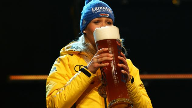 Magdalena Neuner of Germany enjoys a glass of Erdinger nonalcoholic beer after a medal ceremony at the biathlon world championships in Ruhpolding, Germany, in 2012. Today's Olympians have been swept up in a new trend largely emerging from Bavaria: nonalc