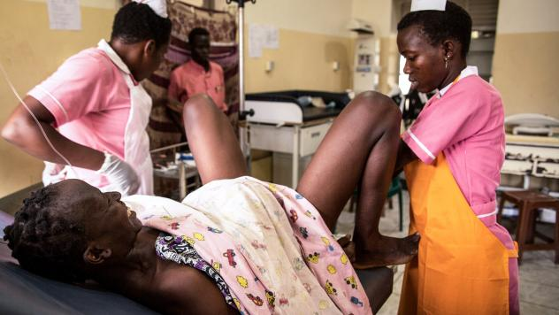 Midwife trainees deliver a baby at the Juba Teaching Hospital in South Sudan.