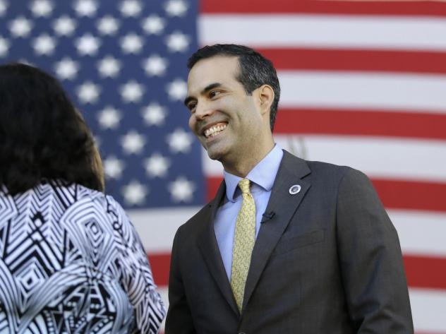 Texas land commissioner George P. Bush attends a 2016 Veterans Day celebration. He's running for reelection with President Trump's endorsement, two years after his father's presidential bid failed amid withering insults from Trump.
