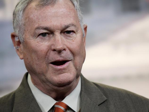 Rep. Dana Rohrabacher, R-Calif., seen in 2013, stands out in the Republican Party for his urging of closer ties with Russia. Under the cloud of investigations over Russian meddling in American politics, he's being challenged over that stance in his re-el