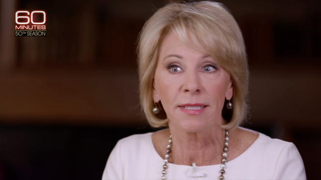 """Education Secretary Betsy DeVos stumbles during her interview with Lesley Stahl on <a href=""""https://www.cbsnews.com/news/secretary-of-education-betsy-devos-on-guns-school-choice-and-why-people-dont-like-her/"""">CBS's </a><a href=""""https://www.cbsnews.com/ne"""