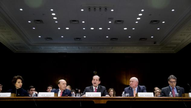 From left: Transportation Secretary Elaine Chao, Commerce Secretary Wilbur Ross, Labor Secretary Alex Acosta, Agriculture Secretary Sonny Perdue and Energy Secretary Rick Perry appear before a Senate committee Wednesday.