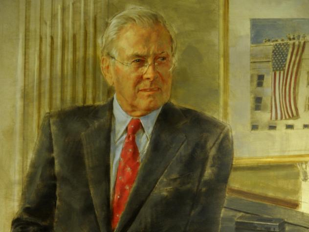 A 2017 congressional committee report singled out this picture of Donald Rumsfeld as one example of the high cost of official portraits. Unveiled in 2010, after Rumsfeld's tenure as secretary of defense had ended, this official image — Rumsfeld's secon