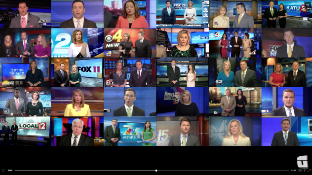 """A video from the sports website Deadspin shows local TV news anchors reciting, in unison, a script from Sinclair Broadcast Group denouncing """"fake stories."""""""