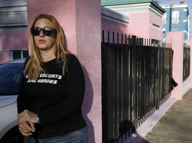"""Abortion-rights advocate Kim Gibson, a """"clinic defender,"""" keeps watch at the entrance of the Jackson Women's Health Organization clinic, the only clinic providing abortions in Mississippi, last month."""