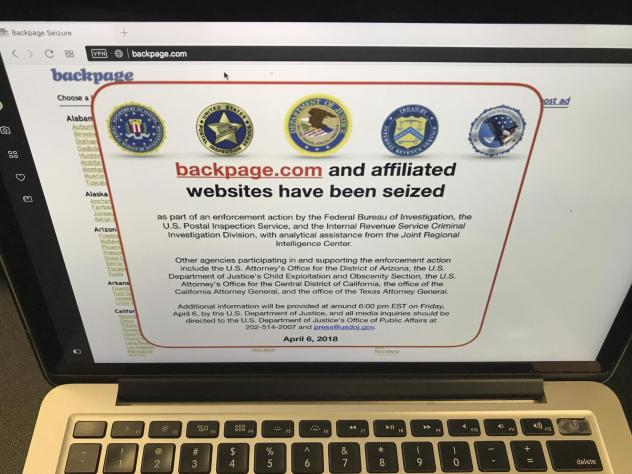 A screenshot of Backpage.com says federal law enforcement authorities seized the website as part of an enforcement action by the FBI and other agencies.
