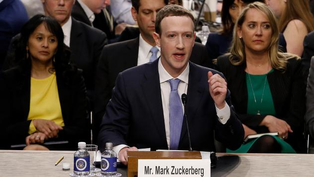 Facebook co-founder, Chairman and CEO Mark Zuckerberg testifies before a combined Senate Judiciary and Commerce committee hearing in the Hart Senate Office Building on April 10.