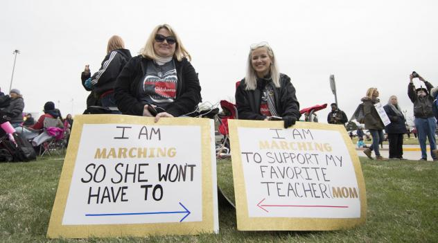 Thousands of Oklahoma teachers and supporters rally in the state's capital.