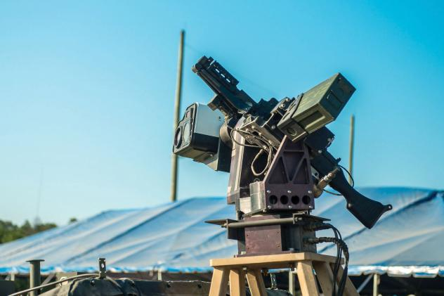 The U.S. Army's Autonomous Remote Engagement System is mounted on the Picatinny Lightweight Remote Weapon System and coupled with an M240B machine gun. It's part of a program that reduces the time to identify targets using automatic target detection and