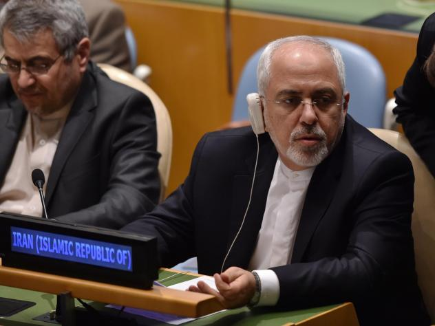 Iranian Foreign Minister Mohammad Javad Zarif attends a meeting on peacebuilding at the United Nations in New York, on Tuesday.