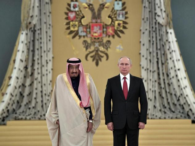 Saudi Arabia's King Salman and Russian President Vladimir Putin pose for a photo during a welcoming ceremony at the Kremlin in October 2017. Last year, Saudi Arabia and Russia were the world's second- and third-largest oil producers, respectively.