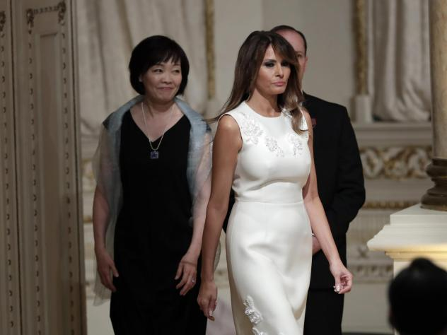 Japan's first lady Akie Abe, left, and first lady Melania Trump, right, arrive for a news conference at Trump's private Mar-a-Lago club on April 18 in Palm Beach, Fla. Mrs. Trump is set to announce some new initiatives next week.