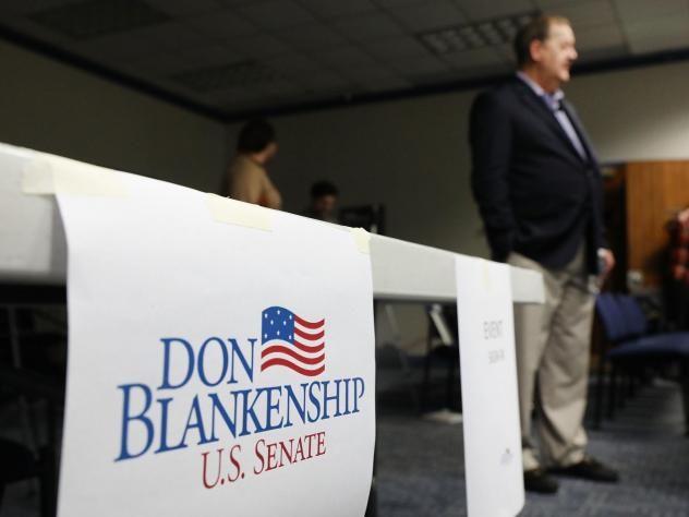 Republican Senate candidate Don Blankenship, a former coal executive who spent a year in prison, speaks at a town hall meeting at West Virginia University on March 1.