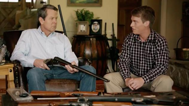 """After three combat tours in Iraq and Afghanistan, I know first hand what it is like to have my gun be the only thing between life and death,"" says former Georgia state Sen. Hunter Hill in his ad running for governor."