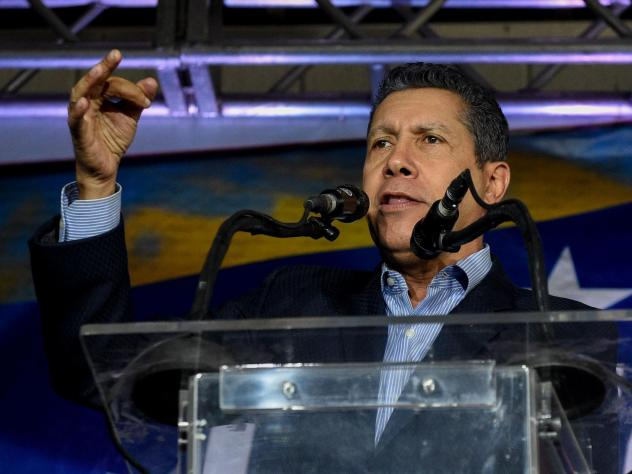 Venezuelan opposition presidential candidate Henri Falcón addresses reporters in Caracas on May 8.
