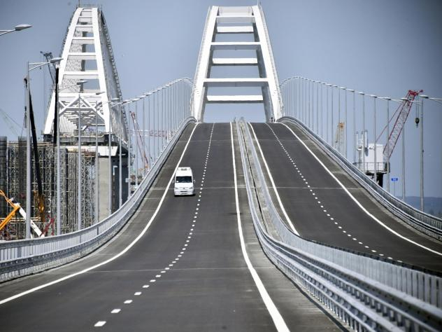 A view of the new bridge linking Russia and the Crimean peninsula prior to its opening ceremony near Kerch, Crimea, Tuesday.