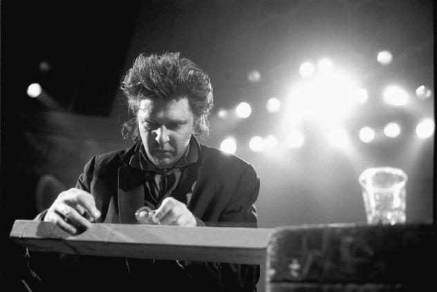 American composer and guitarist Glenn Branca performs live on stage at the Paradiso in Amsterdam, Netherlands on 2nd February 1988.