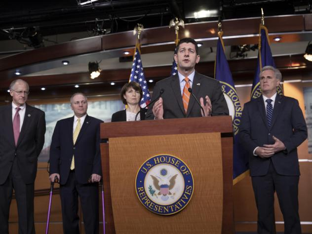 House Speaker Paul Ryan praises the Agriculture Committee's work on the farm bill at a press conference on Wednesday. He was joined by (from left) committee Chairman Mike Conaway, House Majority Whip Steve Scalise, Rep. Cathy McMorris Rodgers and Majorit