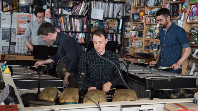 Third Coast Percussion performs a Tiny Desk Concert on April 27, 2018 (Claire Harbage/NPR).